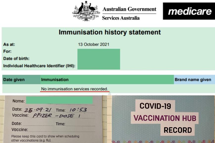 免疫历史文件显示未接种疫苗和辉瑞疫苗接种卡